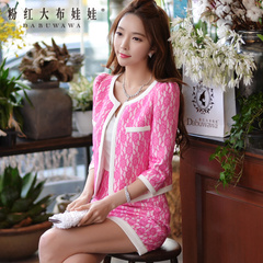 Fashion suit pink doll autumn new small fields breathe sweet dress ladies socialite OL ladies dress