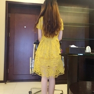 Autumn and summer new women 's self - cultivation yellow short - sleeved lace dress students small fresh short skirt children summer