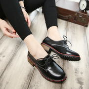 Tidal spring and autumn 2016 New England air black shoes retro shoes flat-bottom round flat heel shoes students Chao
