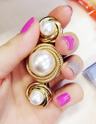 Package mail rotating Barrette Korean rotating clip hair accessories Crystal faux Pearl fringe hairpin jewelry holder