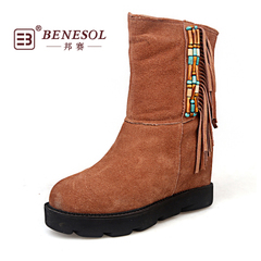 State tournament winter warm thick-soled suede snow boots suede high boots suede leather casual shoes clearance