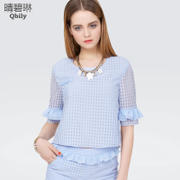 Fine bi Linda 2015 spring/summer tops crewneck short sleeve Plaid new women's Lotus Leaf openwork lace shirts shirts