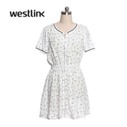 Westlink/West printing short sleeve dress women's clothing
