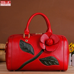 Show a luxury leather goods handbags flower NV purse handbag new Boston shoulder Messenger bag
