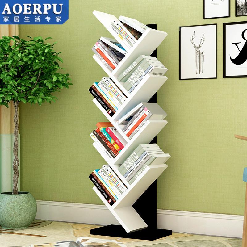 树形书架置物架现代简约角落书架儿童小书架书柜实木简易书架落地
