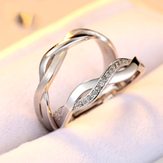 Heart jewelry 925 Silver lovers rings you Korean version of the simple opening of silver rings for men and women a creative lettering
