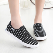 Specials clearance 2015 summer stripe lace low cut sneakers women students with flat shoes and leisure Korean ball shoes