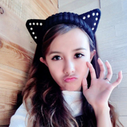 Powder makeup Korean new cute cat ears diamond wool wide-knitted Ribbon hair accessories Korea autumn and winter headband