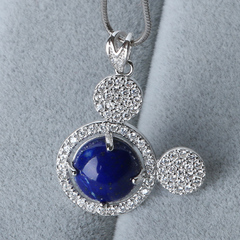 Precious Crystal natural lapis lazuli inlaid pendants ladies 925 Silver cubic zirconia pendant top to repay benefits