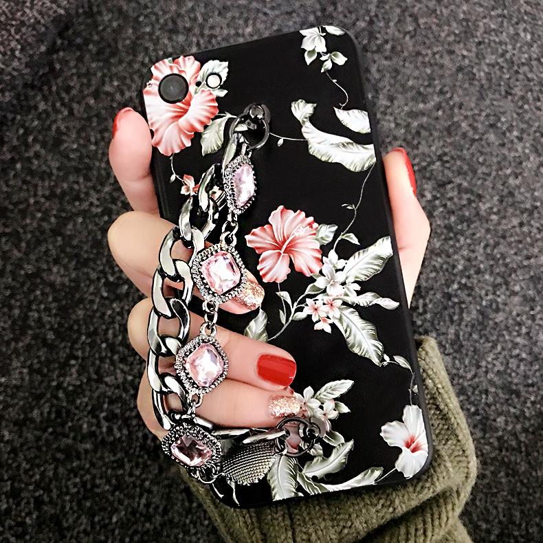 hidog苹果7手机壳带水钻挂链女款欧美潮牌大气7