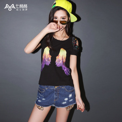 Seven space space OTHERMIX shoulder cut sequined wings print short sleeve t-shirt woman