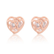 Fine cubic zirconia ear nail Stud Earrings Korean version of the new bride fashion rose flower earring accessories