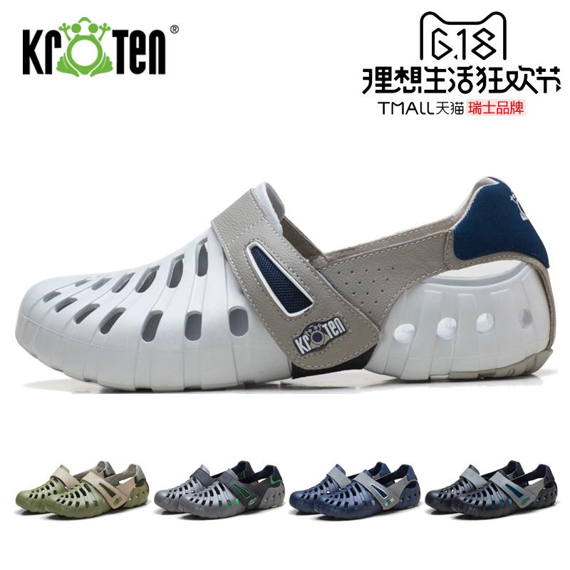 KROTEN瑞蛙男鞋2019夏新款休闲鞋包头凉鞋洞洞鞋男防滑透气沙滩鞋