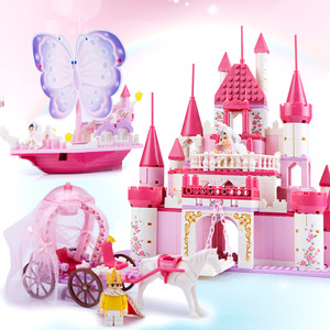 Wisdom Fight Dream Castle Girl Assembling Building Blocks Plastic Wisdom Match Toy House Assembling 3-4-5-6-7 Years Old