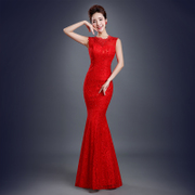 2015 new spring fashion red wedding long one shoulder lace fishtail wedding dress the bride toast clothing