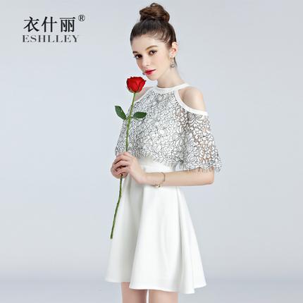 夏季蕾丝拼接挂脖露肩连衣裙女短裙 白色荷叶袖女神名媛小礼服裙