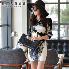 2015 dress big pink doll summer dress new skirt print slim slimming dress women's clothing