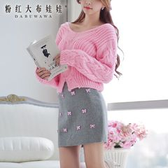 Woman fall/winter wear sweater a big pink doll 2015 new Korean knitted loose twist base jumper