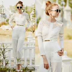 Europe Spring/Summer new style elegant lace stitching premium white jumpsuits and straight trousers casual pants 9368