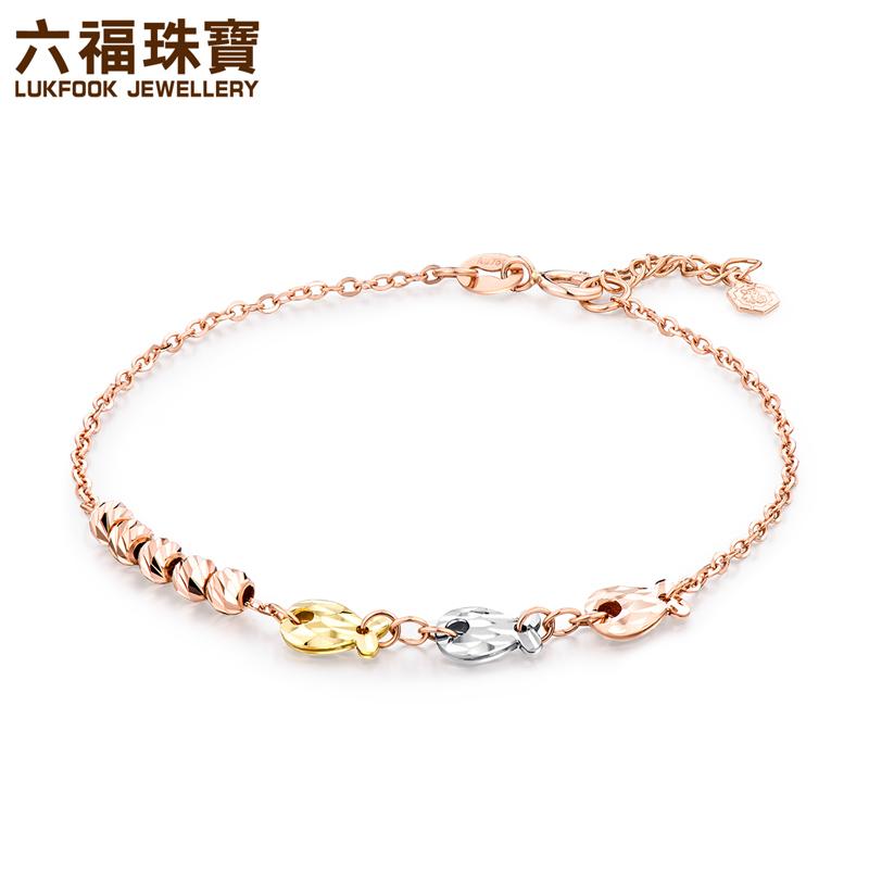 六福珠宝彩金手链女款气泡鱼三色18K玫瑰金手链L18TBKB0046C