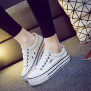 2015 summer white shoes platform muffin low cut lace female Korean casual student sailing Shoes Sneakers Shoes