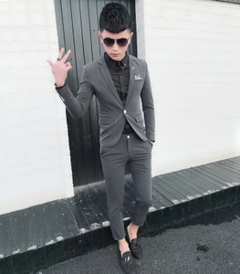 Mr. Fuji trendy men's clothing, single-button suit, hairdresser, small size, tight-fitting men's suit, two-piece suit