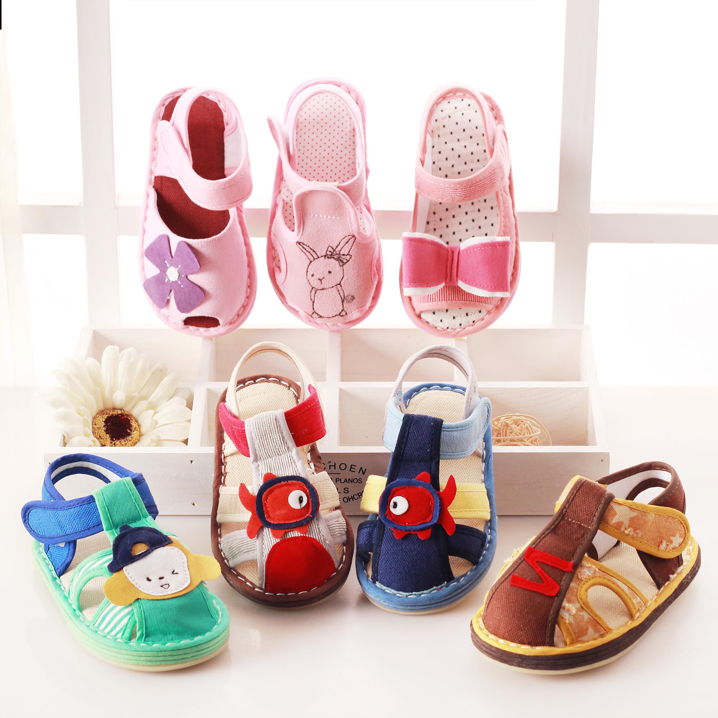 晋豆子夏季新款儿童手工凉布鞋男女童宝宝凉鞋软底防滑卡通家居鞋