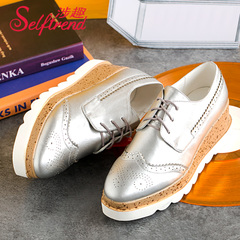 Fun spring of 2016, New England School of wind-related thick-soled platform shoes Oxford Shoes Women take deep shoes W53012