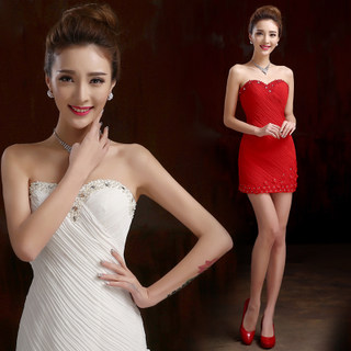 2015 fashion short toasting Princess Bride dress bridesmaid evening dress hip hostess red dress package slim