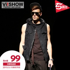 Viishow2015 spring new style men's vest Western wind pure cotton hooded vest vest men's vest men
