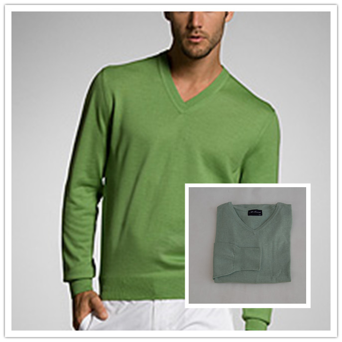 European and American original single Dutch brand men's business leisure V-neck silk knit