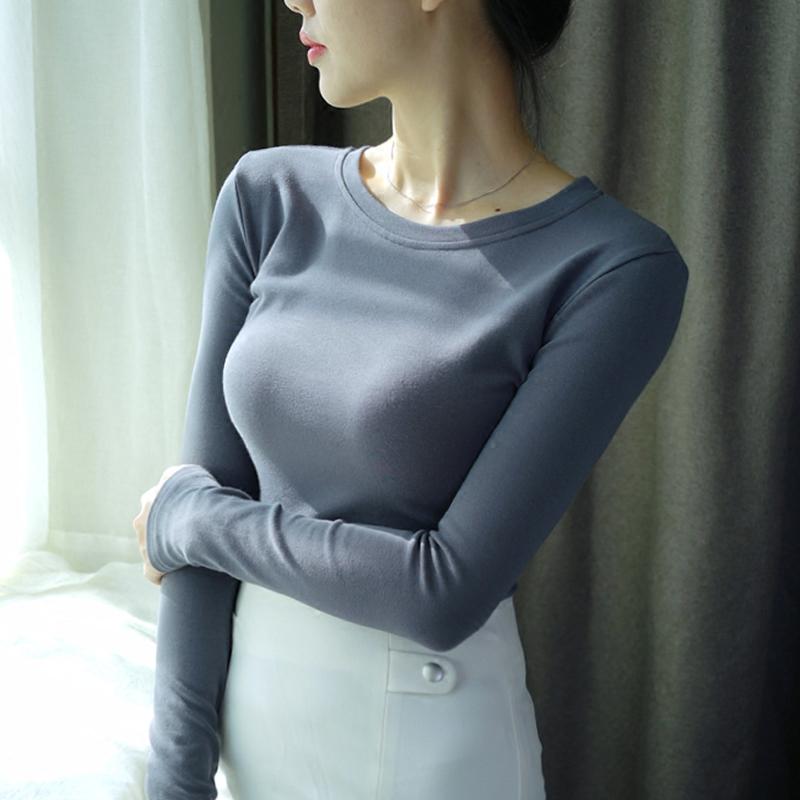 墨绿色打底衫秋冬T恤长袖女上衣服紧身秋衣外穿内搭纯色棉新款潮