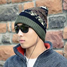 秋冬季帽子男士毛线帽韩版女包头帽针织休闲保暖情侣帽加厚滑雪帽