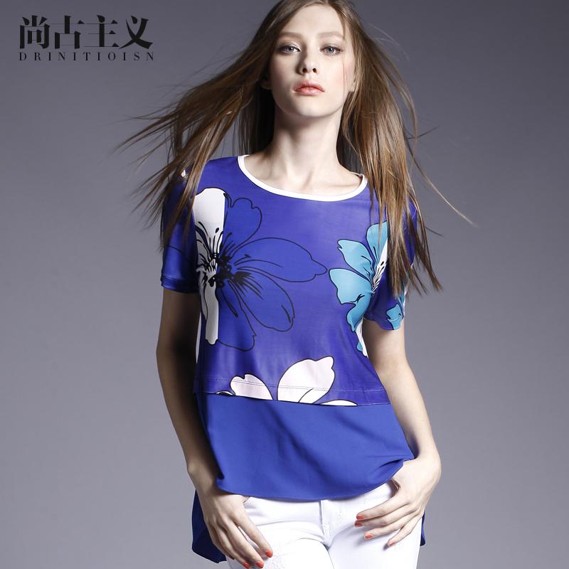 尚古主义女装2016夏装新款拼接上衣修身打底衫圆领印花短袖女T恤