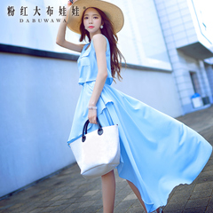 Sleeveless dress big pink doll 2015 summer styles dresses loose irregular hem dress