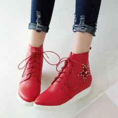 2015 new winter lace beaded boots casual boots pointed toes wild and nude boots flat shoes with the student female boomers