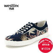 Westlink/West fall 2015 new tide hit the color printing stitching low casual men's shoes
