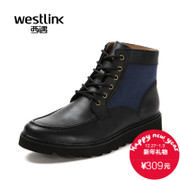 Westlink/West 2015 winter new leather stitching cloth strap casual men's short boots Martin boots