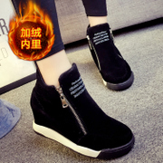 2015 new winter Scrubs zipper stealth increases women''''s plus fleece students in high-top sneakers casual shoes