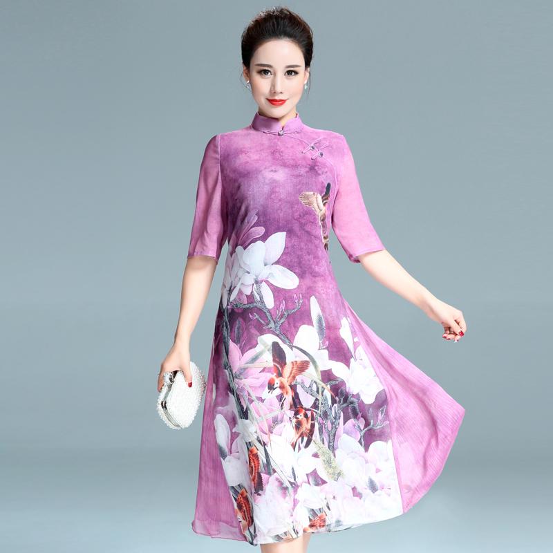 亚胜郎夏季中年女装连衣裙中长款裙子中老年妈妈装夏装40岁50