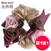 Buy one get one ring hair accessory Korea in string rose flower headdress bungee rope ponytail capitatum