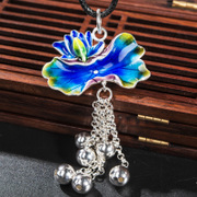 Thai Lotus pendant with enamel cloisonne 925 Silver fashion Lady burning blue tassel pendant new