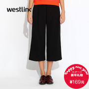 Westlink/West fall 2015 the new Europe and the simple and easy wide leg black pants ladies cropped trousers