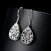 925 Thai Thai silver openwork Silver earrings Imperial Chinese wind-carved fashion vintage earrings jewelry