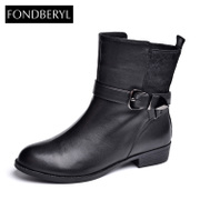 Fondberyl/feibolier 2015 winter new style leather head with short boots shoes FB54113837