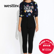 Westlink/West fall 2015 new simple Joker black casual women's high waist bib pants