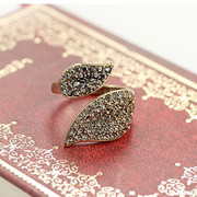 Good 2016 Korean version of the stylish new arc-shaped leaves of diamond ring tide girls open boutique ring ring