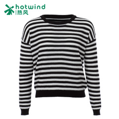 Hot new 2016 short bi-female socket in the Korean version of the black and white striped sweater round neck long sleeve sweater F08W6101