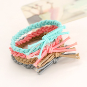 Knowing Minnie bow woven rope string band hair loving circle Korean hair accessory jewelry