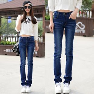 秋直筒舒适韩版牛仔裤 弹力女修身提臀宽松小腿显瘦